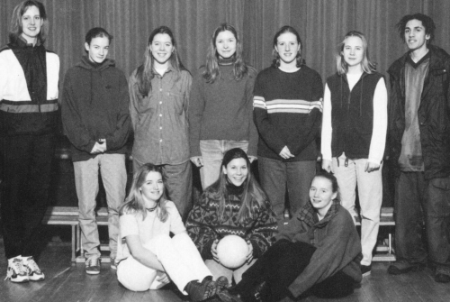 (Click to magnify) FRONT ROW: Deanna Beggs, Julia Peters, Katie Ballinger; BACK ROW: Ms. Dobson, Linda Hamilton, Erin Bl