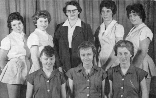 (Click to magnify) FRONT ROW: Linda Elson, Ruth Clark, Marlene Wallace; BACK ROW: Pam Horn, Elaine Goldstone, Mrs. Joyce