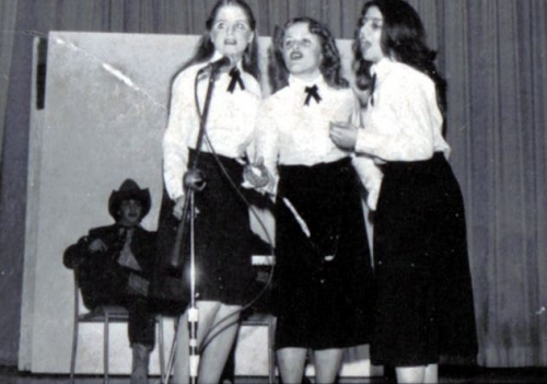 Marc Ouellet watches as Marg Evan, Sharon Emslie & Mary Esposito sing Boogie Woogie Bugle Boy