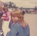 Belinda Fairfoul at the Bus Area.  ~1984