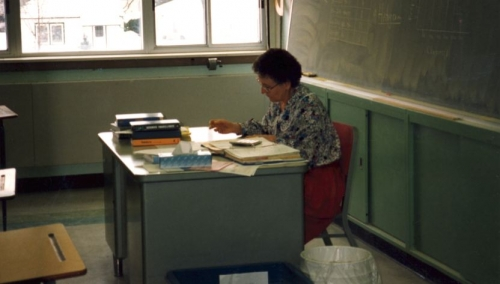 Kathleen Trenka marking in room 215, Feb 1996