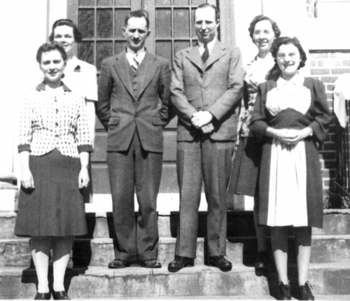 Left to right: B. May, C. Walsh, M. Verner, Duncan MacRae, C. McQuade, M. Winchester