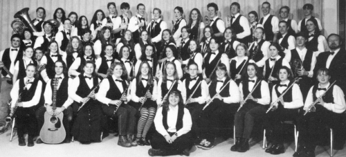 (Click to magnify) ... 1996-97 Senior Band ... WARNING - VERY large file download when magnified. FRONT: Katie Fockler;