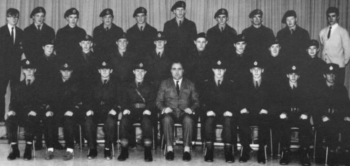 (Click to magnify) Front Row: M. Westgarth, B. Munro, J. Cowan, P. Taylor, Mr. Newton, M. Ross, W. Brethour, S. Hall, K.
