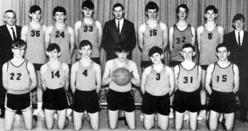 (Click to magnify) FRONT: L. Geer, P. Beach, S. Hall, W. St.John (captain), R. McLaren, J. Kydd, I. Lumgair; BACK: Mr. B