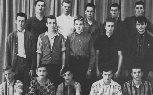 (Click to magnify) FRONT ROW: M. Belfry, Pete Moore, Mike Esmonde, P. Faulkner, L. Noble; SECOND ROW: Keith St.John, L.