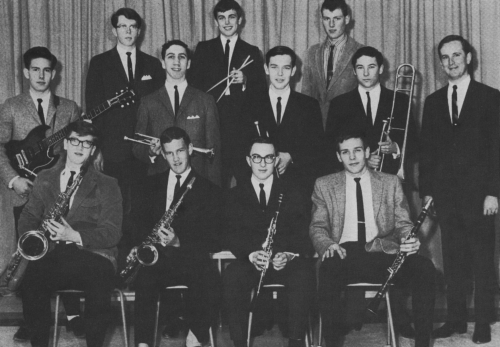 (Click to magnify) FIRST ROW: Sandy Taylor, Saxophone; Ken Rattray, Saxophone; D. McCaslin, Clarinet; Gord Whitney, Clar