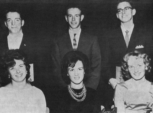 (Click to magnify) FRONT ROW: Marion Clark, Gail Bagshaw, Peggy Hickling; BACK ROW: Lawrie Taylor, Alvin Clark, James Mc