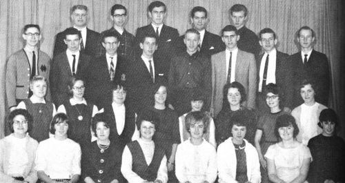 (Click to magnify) FRONT ROW: J. McDowell, J. Hickling, J. Taylor, L. Galbraith, Ann Gage, M. Kydd, T.A. Fergussen (sp?)