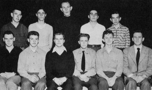 (Click to magnify) FRONT ROW: H. Wagg, J. Gillham, E. Mundinger, L. Gleason, J. Welch, Mr. Bob Rattray; BACK ROW: K. Wal