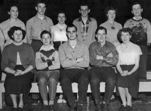 (Click to magnify) FRONT ROW: M. Reynolds, B. Watts, J. Blackburn (President), J. Breen, L. Ferrell; BACK ROW: Miss C. M