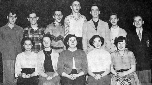 (Click to magnify) FRONT ROW: B. Noble, F. Williams, M. Reynolds, M. Leask, B. Oake; BACK ROW: K. Profit, C. Cornell, T.