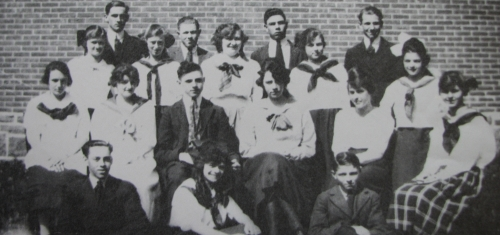 Original photo courtesy of Uxbridge Museum ... (Click to magnify)  This photo was taken outside at the 'old High School