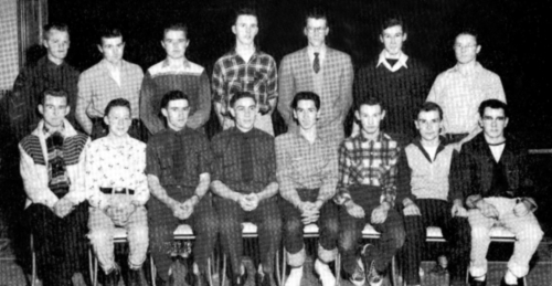 (Click to magnify)FRONT ROW:  Bob Knight,J. Smalley, R. Shier, V. Ferguson, Gene More, R. Whitfield, Bob Bradbury, R. Ta