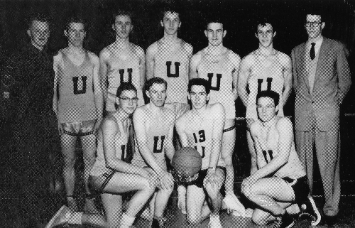 (Click to magnify)  FRONT ROW:  B. Noble, L. Wilson, Gene More, Peter Bernhardt;  BACK ROW:  G. Gibson, (Team Manager) L
