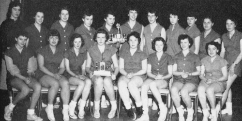 (Click to magnify)  FRONT ROW:  J. Richardson, J. Jefferson, A. McGuire, E. Oldham (Captain), D. Comer, Diane Hemington,