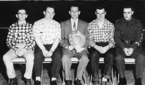 1956-57 SEED JUDGING  (Click to magnify)  Neil Taylor, Roger Snodden,, Mr. Robert Rattray(Coach), E. Maye, B. Yake