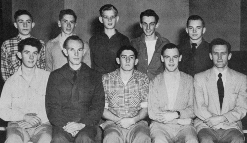 (Click to magnify) FRONT ROW: G. Hill, E. Fellows, B. Ball, H. Wagg, Mr. Bob Rattray; ***BACK ROW: V. Ferguson, G. More,