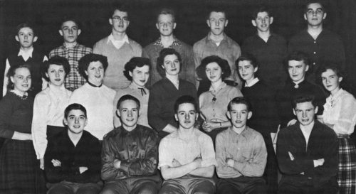 (Click to magnify) FRONT ROW: E. Horn, E. Kydd, T. Wallace, K. Voutt, V. Doake; SECOND ROW: J. Johnstone, G. Hall, B. Be