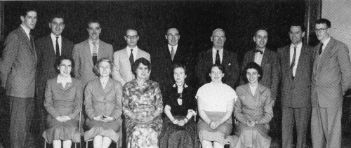 (Click to magnify) FRONT ROW: Miss Carrie McQuade, Mrs. Hewitt, Mrs. Willis, Mrs. Richards, Mrs. Joyce Bradbury, Mrs. El