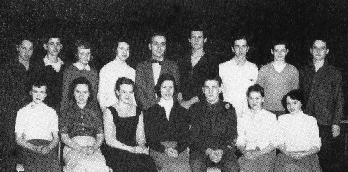 (Click to magnify) FRONT ROW: B. Irwin, M. Oldham, D. Smith, B. Fair, R. Elliot, D. Stewart, H. McTavish; BACK ROW: A. E
