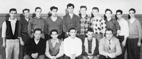 (Click to magnify) FRONT ROW: R. Snoddon, G. More, V. Ferguson, C. Cornell, Mr. Ray Newton; BACK ROW: B. Bradbury, G. Ge