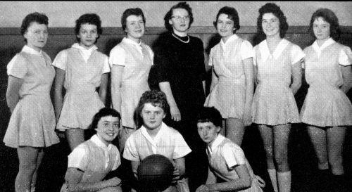 (Click to magnify) FRONT ROW: H. MacTavish, S. Walters, A. McQuire; BACK ROW: E. Kester, G. Bell, M. Lickiss, Mrs. Joyce