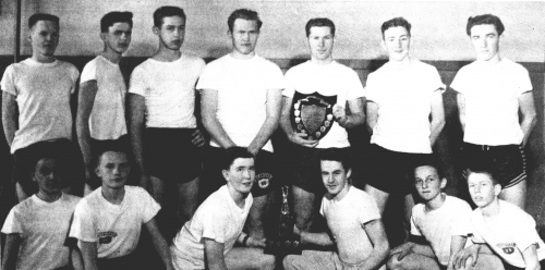 (Click to magnify): FRONT ROW: K. James, G. Harrison, W. Taylor, G. Elson, B. Babick, I. Brown; BACK ROW: A. Oldham, D.
