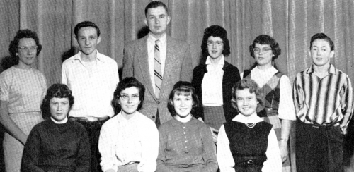 (Click to magnify) FRONT ROW: P. Hall, L. Maye, D. Drummond, L. Hogan; ***BACK ROW: E. Noble, B. Babick, Mr. Prentice, M