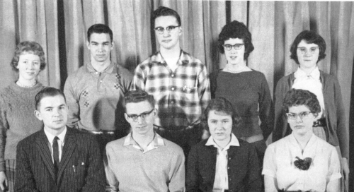 (Click to magnify) l-r (Original captions were reversed) FRONT ROW: Mr. Prentice, Jim McDowell, Pat Hall, Gloria Orr; **