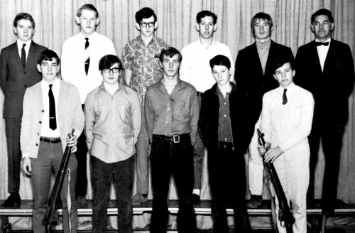 (Click to magnify) FRONT ROW: J. Howroyd, B. Carroll, G. Allbright, A. Riddle, P. Pearce; ***SECOND ROW: Alec Leask, G.