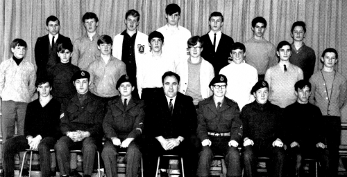 (Click to magnify) FRONT ROW: S. Hall, J. Harman, R. McLaren, Mr. Ray Newton, P. Taylor, R. Low, K. Hall; ***SECOND ROW:
