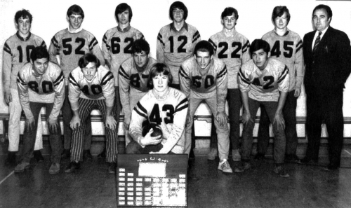 (Click to magnify) FRONT ROW: Ross Eng, Randy Low, John Weller, John Bradbury (out front holding plaque & football), Bil
