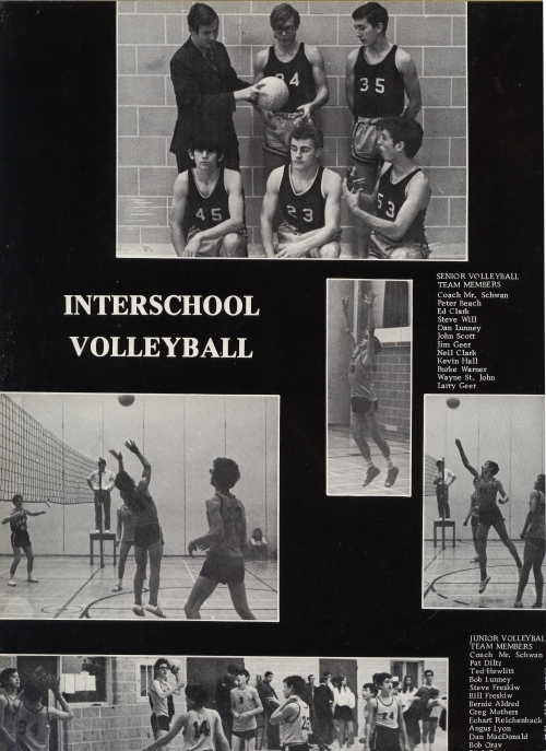 (Click to magnify) JUNIOR VOLLEYBALL TEAM MEMBERS: Coach: Mr. J. Schwan, Pat Diltz, Ted Hewlitt, Bob Lunney, Steve Fresk