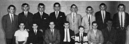 (Click to magnify) FRONT ROW: B. Metherall, E. Filiault, Mr. T. Smith, Dave Maxwell, Brian Heddle, Dave St.Pierre, J. An