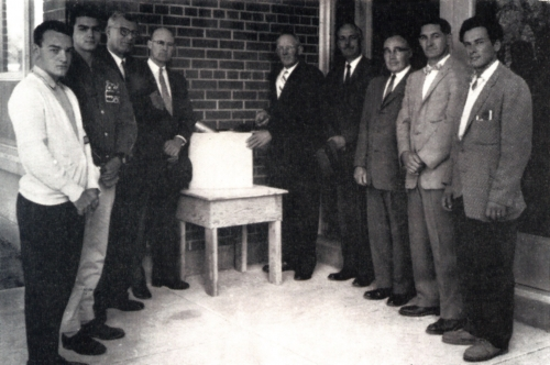 (Click to magnify) Bruce Brandon, left; Peter Bernhardt 3rd from right.