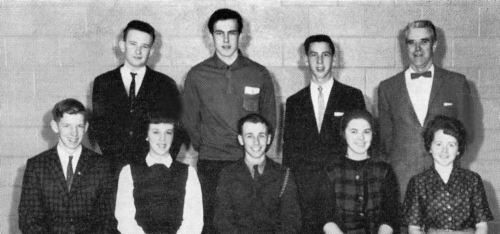 (Click to magnify) FRONT ROW: Bruce Gillham, L. Ewen, Peter Hall, J. Campbell, Gwen Dowswell; ***SECOND ROW: Russell Cla