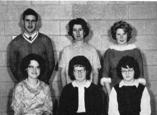 (Click to magnify) FRONT ROW: J. McDowell, M. Geissberger, Pat Armstrong; ***BACK ROW: Bruce Wilson, Mrs. Hope, D. Strau