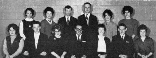 (Click to magnify) FRONT ROW (Senior): S. Chase, Dennis Watts, F. Snoddon, John Szold, Joan Hickling, Bruce Brandon, M.