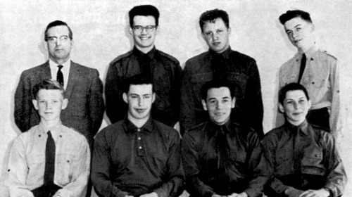 (Click to magnify) FRONT ROW: Barry Timbers, A. Brooks, Dave St.Pierre, R. McGuckin; ***BACK ROW: Mr. Ted Smith, John Ar