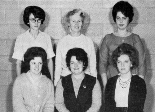 (Click to magnify) FRONT ROW: A. Tiers, S. Chase, S. Hickling; ***BACK ROW: G. Harrison, Mrs. Hewitt, I. Noble.