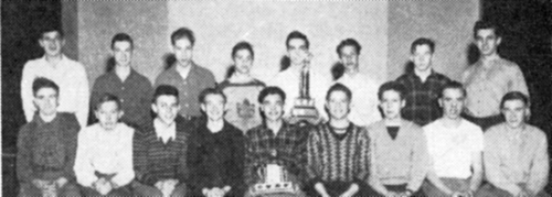 (Poor quality original) FRONT ROW: K. Wilson, H. McDonald, T.  Houck, J. Ansell, G. Forsythe (weird spelling on original