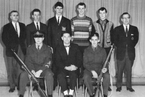 (Click to magnify) FRONT ROW: M. Ross, Mr. Brunne, D. Moore; ***BACK ROW: Mr. A. McConney, Keith St.John, Larry Manley,