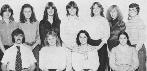 (Click to magnify) FRONT ROW: Mr. G. Imrie (coach), Kathy Doodchenko, Doris Risebrough, Kristen Berg; ***BACK ROW: Joan