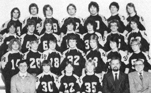 (Click to magnify) FRONT ROW: Mr. Manorek (coach), Grant Curnow, Dean Rushlow, Howard Underwood, Mr. P. Mazza (coach), M