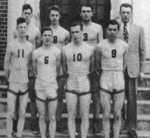 FRONT ROW: W. Fawns, G. Smith, R. Norton, R. Ball; BACK ROW: R. Barnhardt, D. Hewlett, R. Kester, Mr. Russ.