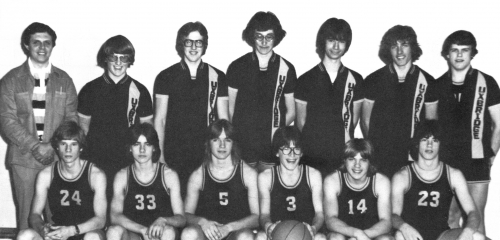 (Click to magnify) FRONT ROW: J. Clarke, S. Cogswell, C. Morrison, S. Kearley, B. Miller, G. Irwin; ***BACK ROW: Mr. B.
