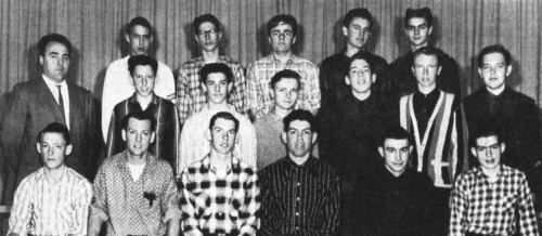 Front Row: G. Kidd, Roger Forsythe, Ralph Cox, Doug St. John, George Taylor, R. Evans  Second Row:  Mr. Ray Newton, Aegi