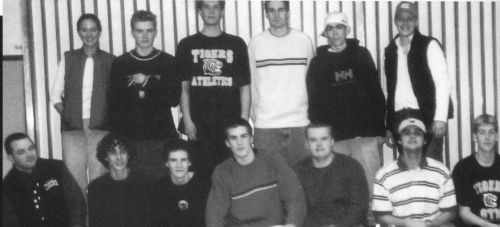 (Click to magnify - original photo out-of-focus and with heads cut off) FRONT ROW: Mr. C. Pinkerton, Blake Sedore, Holla