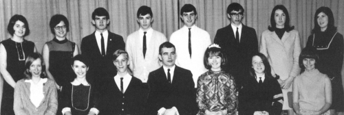 (Click to magnify) Front Row: G. Sweetman, K. MacDonald, M. Belfrey, Mr. J. Addison, C. Flewell, C. Hall, M. Fairman; **